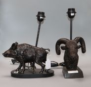 Two spelter lamps modelled as a warthog and a ram