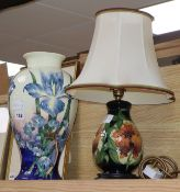 A Moorcroft table lamp and Moorcroft-style vase