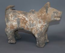 A Chinese painted pottery of a dog standing four square, Han dynasty or later, with bill of