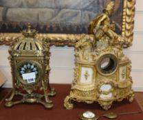 A late 19th century French brass mantel clock and a clock case
