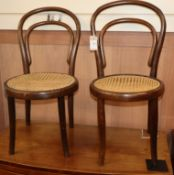 A pair of bentwood cane seat child's chairs