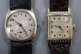 "A gentleman's silver wristwatch and a Waltham ""14k gold filled"" wristwatch."