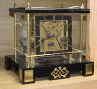 A glass and brass chiming mantel clock height 26cm
