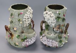 A pair of Paris porcelain flower encrusted bird nest vases