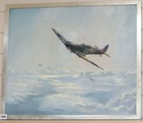 S.N. White, oil on canvas, Spitfires in flight, signed and dated '77, 50 x 60cm