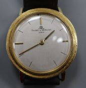 A gentleman's 750 yellow metal Baume & Mercier manual wind dress wrist watch (lacking winding