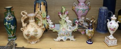 Three Austrian vases and ewers, two French porcelain vases and three others (8)