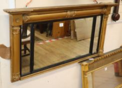 A Regency giltwood and gesso overmantel mirror W.128cm