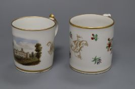 A Chamberlains Worcester topographical mug and an English porcelain mug, early 19th century, the