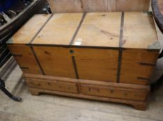 A George III brass bound pine campaign mule chest W.110cm