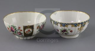 Two Worcester slops bowls, c.1780-90, the fluted bowl painted with alternating floral panels, square