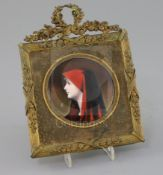 A Limoges enamel portrait plaque of Saint Fabiola, after Henner, early 20th century in a gilt