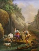 A French porcelain plaque signed Binet and dated 1834, finely painted with figures and animals