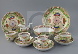 A group of Chamberlains Worcester 'Dragons in Compartments' tea and coffee wares, early 19th