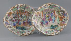 A pair of Chinese famille rose dishes, Daoguang period (1821-50), of lozenge form, each painted with