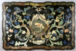 A 19th century Italian scagliola table top, of serpentine rectangular form with central perched
