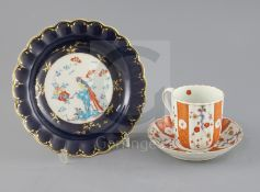 A Worcester scalloped plate and similar ribbed coffee cup and saucer, c.1770-90, the former