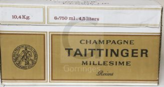 A box of six bottles of Tattinger 1/1 Brut Millesime, 1990 champagne