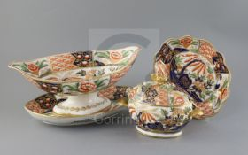 A Coalport thirty six piece Imari pattern dessert service, c.1810-15, each piece painted to the