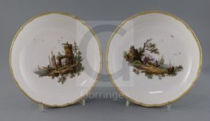 A pair of Meissen circular dishes, Marcolini period (1773-1814), each painted with figures in