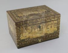 A Chinese export gilt-decorated black lacquer tea caddy, 19th century, the exterior decorated with