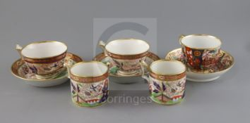 Two Flight, Barr and Barr Imari pattern trios, c.1820, of London shape, impressed mark 'FBB' below a