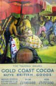 "An Empire Marketing Board poster: ""The Talking Drums, Gold Coast Cocoa Buys British Goods"", one"