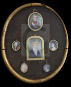 A group of six miniature portraits relating to the Adye Family, comprising:English School (19th