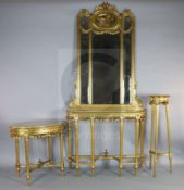 A three piece suite of Louis XVI style giltwood salon furniture, comprising a console table with