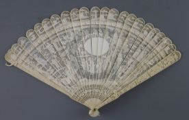 A Chinese export ivory brise fan, 19th century, pierced and carved in low relief with figures amid