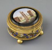 Cesare Roccheggiani of Rome. A micromosaic mounted ormolu casket, the cover depicting the ruins of