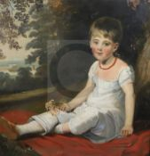 Circle of Sir Thomas Lawrence (1769-1830)oil on canvasPortrait of a girl seated in a landscape30 x