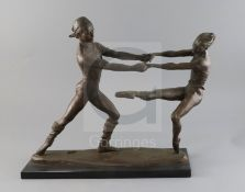§ Enzo Plazotta (1921-1981). A bronze group 'The Dancers', foundry stamped, numbered 5.9, on black
