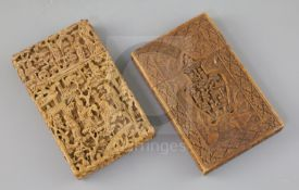 Two Chinese export sandalwood card, 19th century, both carved in high relief with figures amid