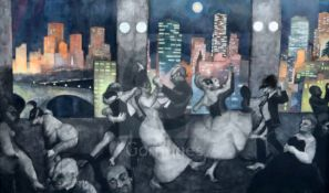 Gerald R. Jarman (British, 1930-2014)charcoal and acrylic on paperNight Cityscape: 'Dance