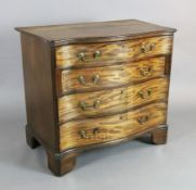 A George III mahogany serpentine chest of four graduated long drawers, on bracket feet, W.3ft 1.5in.