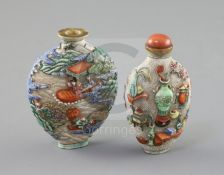 Two Chinese enamelled and moulded porcelain snuff bottles, Jiaqing porcelain four character marks