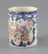 A Chinese export famille rose mug, Qianlong period, finely painted with figures on a veranda, within