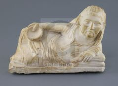 An alabaster cinerary urn cover, probably Etruscan 3rd-2nd century B.C., carved as the reclining