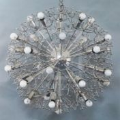 A 1960's chromed metal spherical light fitting by Gino Sarfatti for Sciolari, drop and diameter