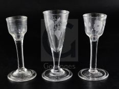 Three drinking glasses, c.1735-40, comprising two cordial glasses, one engraved with a flower, and