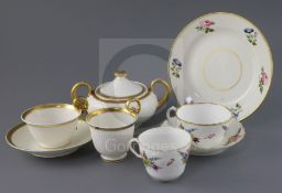 A group of Swansea porcelain tea and coffee wares, early 19th century, comprising a Paris fluted