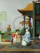 A Chinese reverse painted mirror, 19th century, decorated with figures in a pavilion garden,