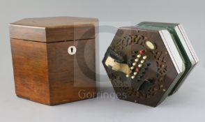 A C. Wheatstone rosewood concertina, number 1638, in original case 8.25in.
