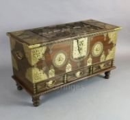 A brass mounted hardwood Zanzibar chest with base drawer 3ft 6in.