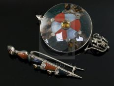 A Scottish silver and multi hardstone 'sword and shield' brooch and a similar gem and hardstone