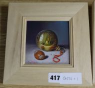 Raymond Campbell, oil on panel, 'Xmas Bauble', signed, 11 x 11cm