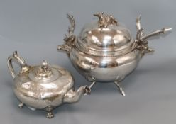 """A Hukin and Heath plated """"deer"""" tureen and a plated teapot tureen height 29cm"""