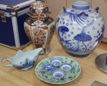 A Japanese blue and white jar, Imari vase and cover with a Cantonese dish and blue and white
