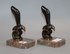 After Jamar. A pair of Art Deco bronzed spelter gull bookends height 17cm